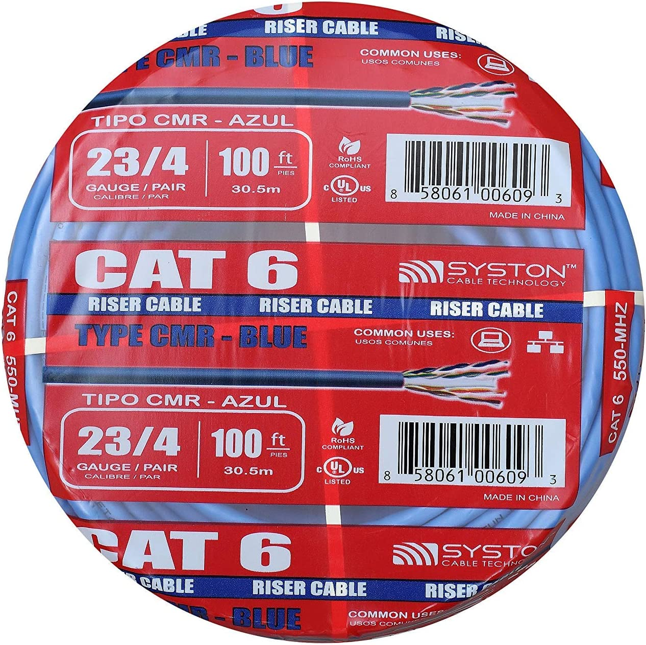 23AWG Outdoor // Indoor Heat Resistant Solid Cat6 Bulk Cable Raw 100ft Pure Copper 550Mhz Blue By Syston Cable Riser Rated CMR
