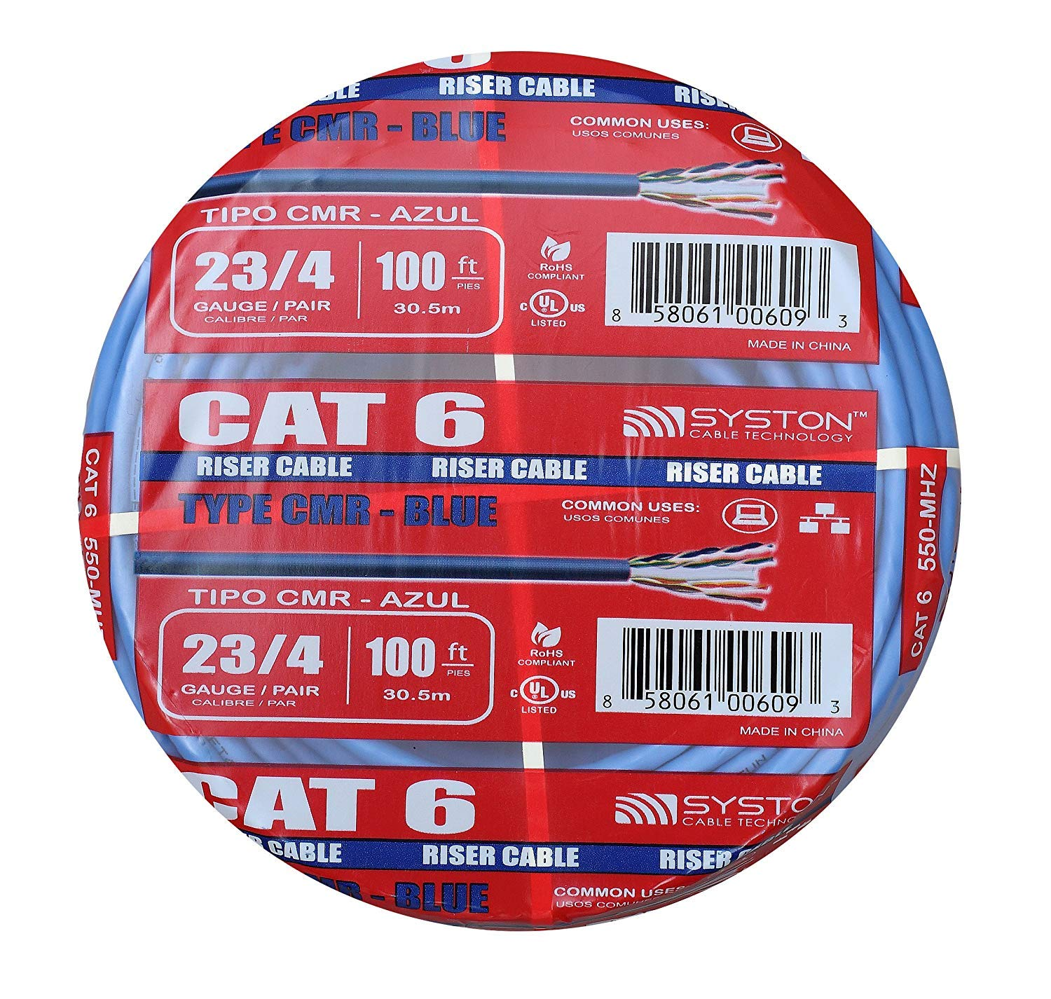 Cat6 Bulk Cable Raw 100ft Pure Copper, Outdoor / Indoor Heat Resistant, Solid, 550Mhz, 23AWG, Riser Rated CMR, Blue By Syston Cable by Syston Cable Technology