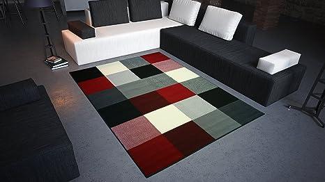 Tappeti Da Salotto Quadrati : Debonsol u2013 tappeto salotto design quadrati nero rosso bianco