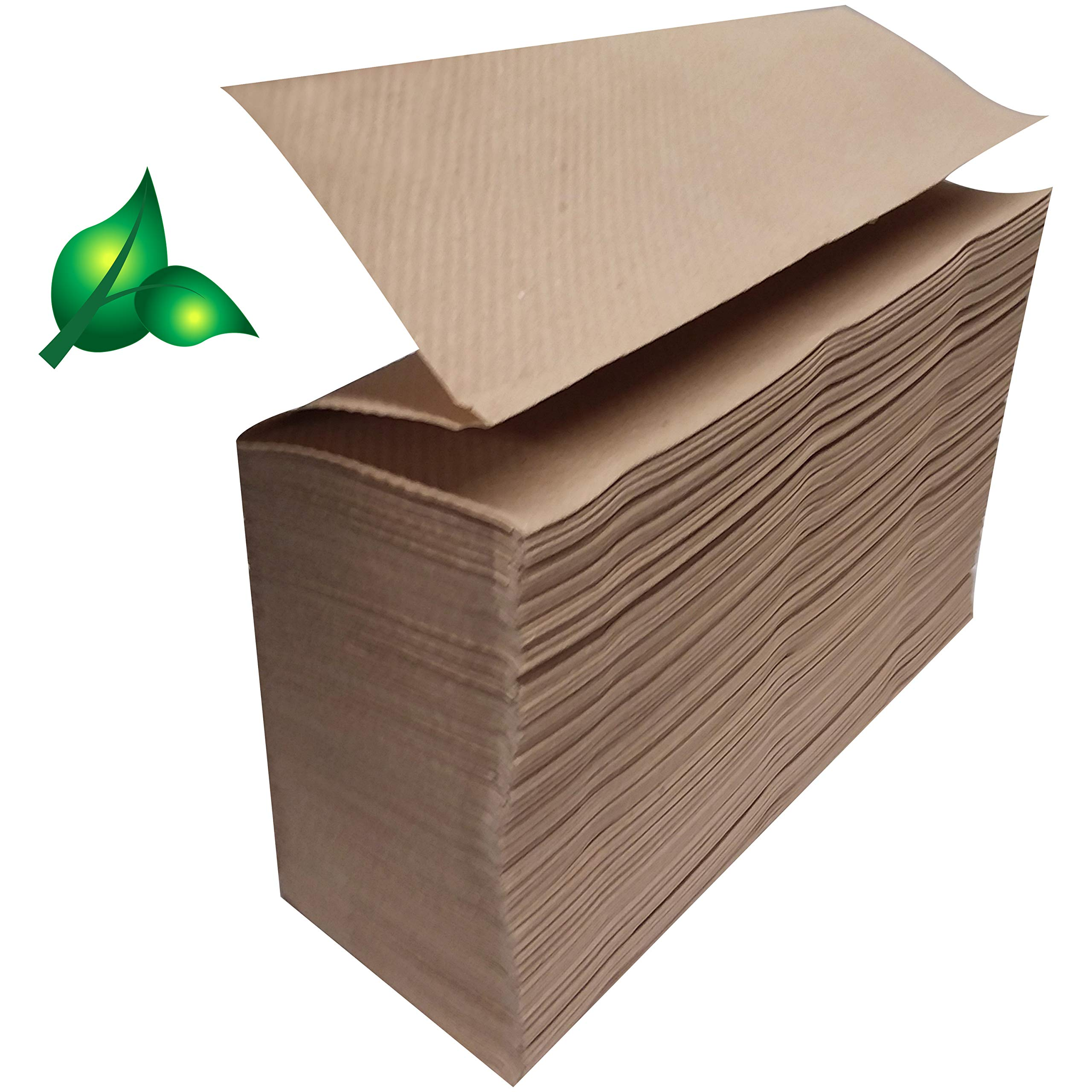 Recycled Unbleached Eco Paper Towels, 1000 Z Multifold Brown Organic 100% Post Consumer Waste