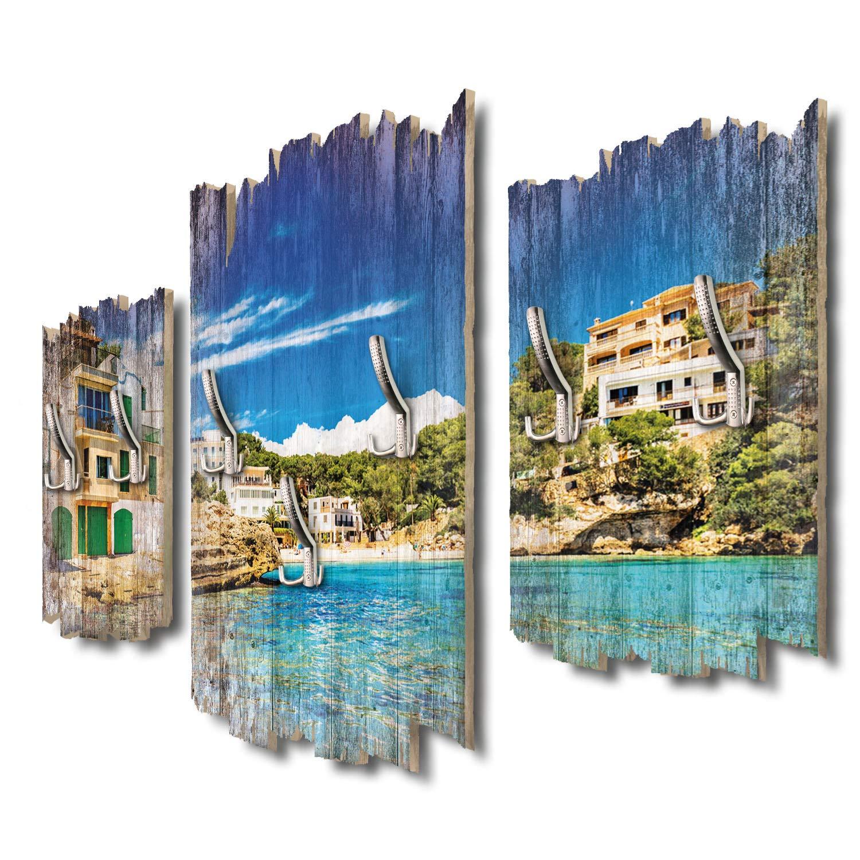 Kreative Feder Balearen Mallorca Designer Wandgarderobe Flurgarderobe Wandpaneele 95 x 60 cm aus MDF-Holz DTGH002