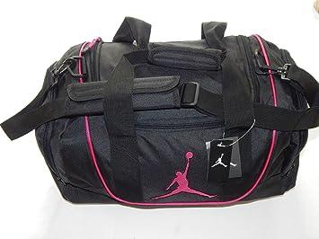 Nike Air Jordan Duffel Gym Bag Basketball Tote Black Pink Travel Duffle
