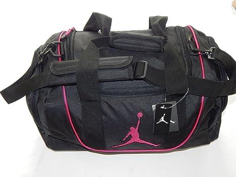 b36bce9652 ... Amazon.com Nike Air Jordan Duffel Gym Bag Basketball Tote Black Pink  Tote Travel Duffle ...