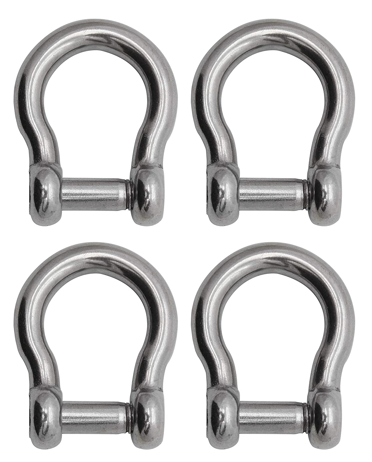 4-Pack Extreme Max Silver Standard 3006.8414.4 BoatTector Stainless Steel Bow Shackle with No-Snag Pin-1//2