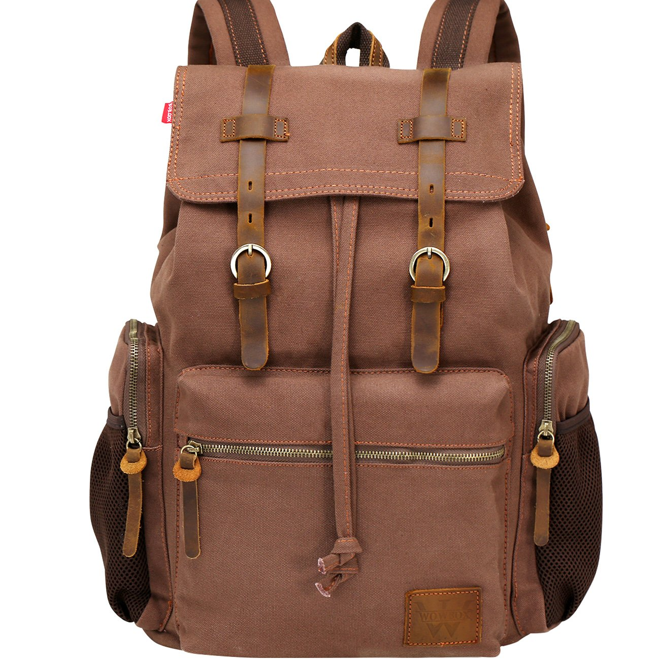 Wowbox 17.3 Inch Laptop Canvas Backpack Unisex Vintage Leather Casual Rucksack School College Bags Satchel Bookbag Large Capacity Hiking Travel Rucksack Business Daypack for Men and Women(Coffee)