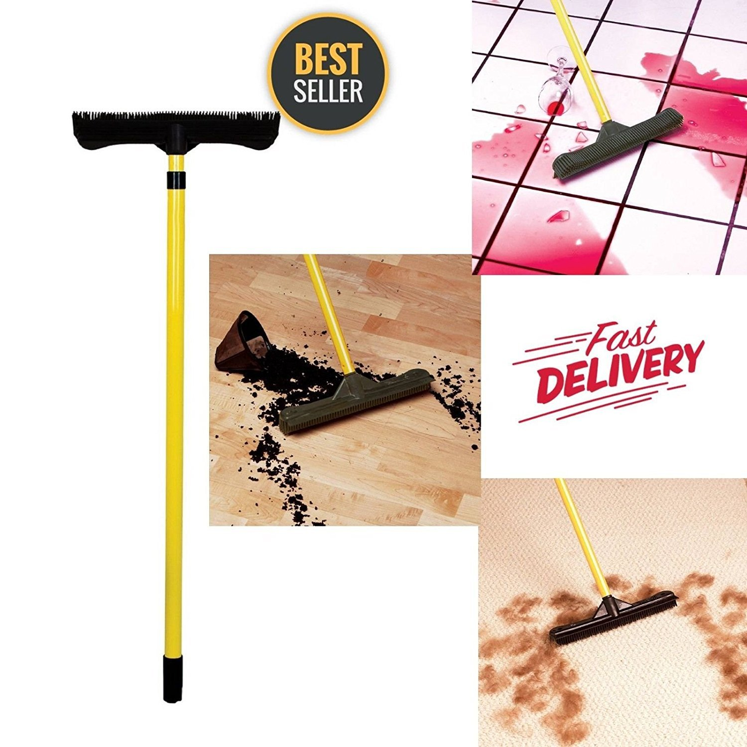 Sweepa Rubber Broom. Various Poles and Head Sizes Available. Dutch Rubber Broom, with Squeegee. Bonus Cleaning Cloth with Every Purchase. (Commercial Head w/59'' Pole) by GreatProductsUnlimited (Image #1)