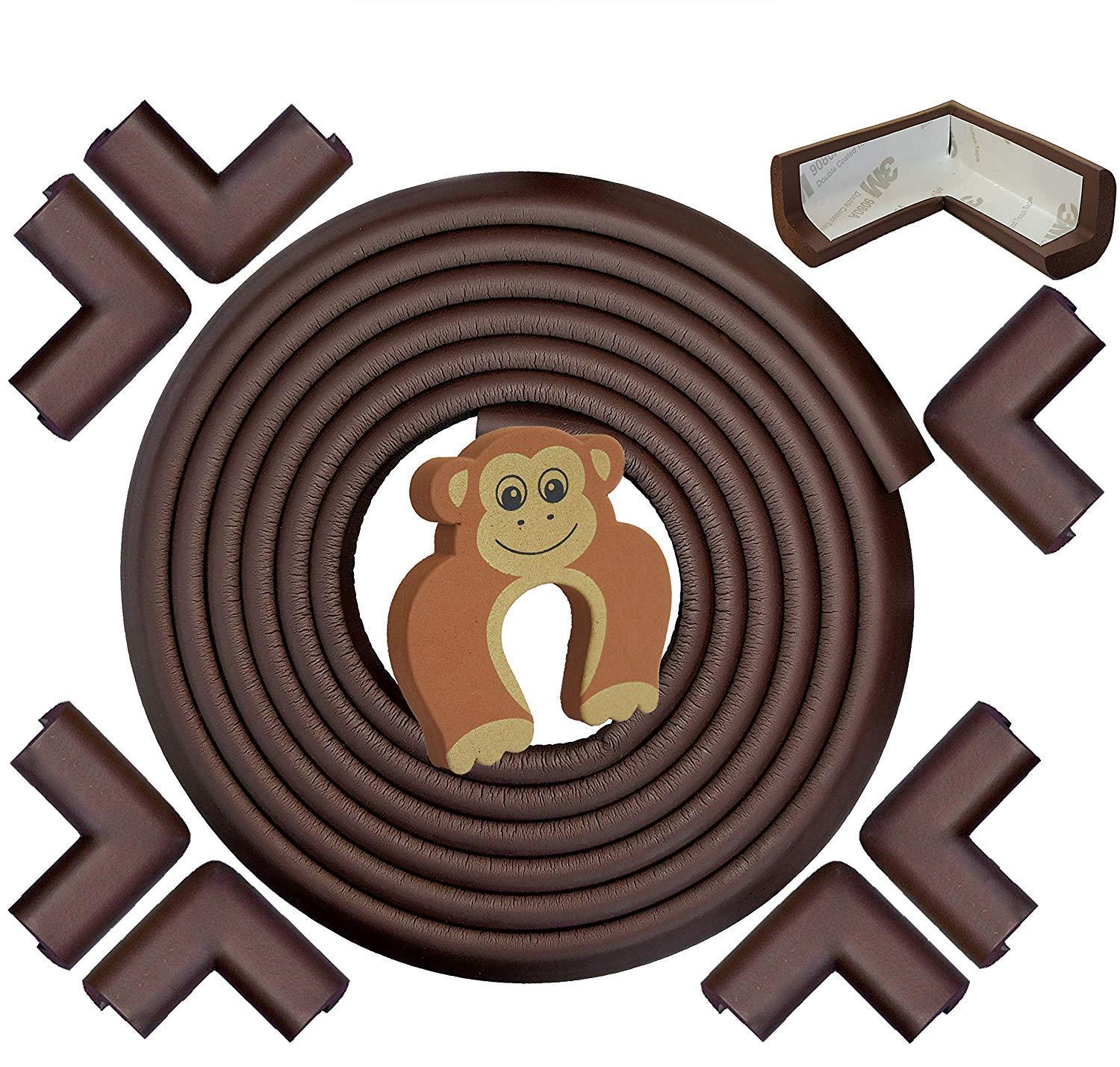 Corner Protectors and Edge Bumpers- 5m/20ft [16.5ft Edge Guards + 8 Corner Guards] Baby Safety Furniture Bumpers & Corner Cushions; Baby Proofing Table Edge Protector for Furniture (Brown)