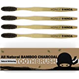 Bamboo Toothbrush with Charcoal Bristles - Save with Value 4-Pack - Natural Toothbrushes for Teeth Whitening and Sensitive Gums - Travel Toothbrush and Guest Toothbrush - Family Friendly