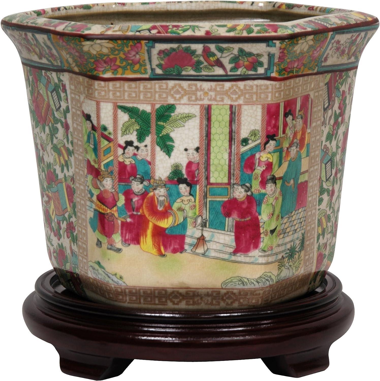 """Oriental Furniture 10"""" Rose Medallion Porcelain Flower Pot"""