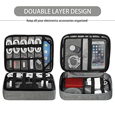 Up to 11 ,Power Bank Jelly Comb Electronic Accessories Travel Cable Organizer Waterproof Cord Storage Bag for Cables iPad Black, 12.9in Electronics Bag USB Flash Drive and More