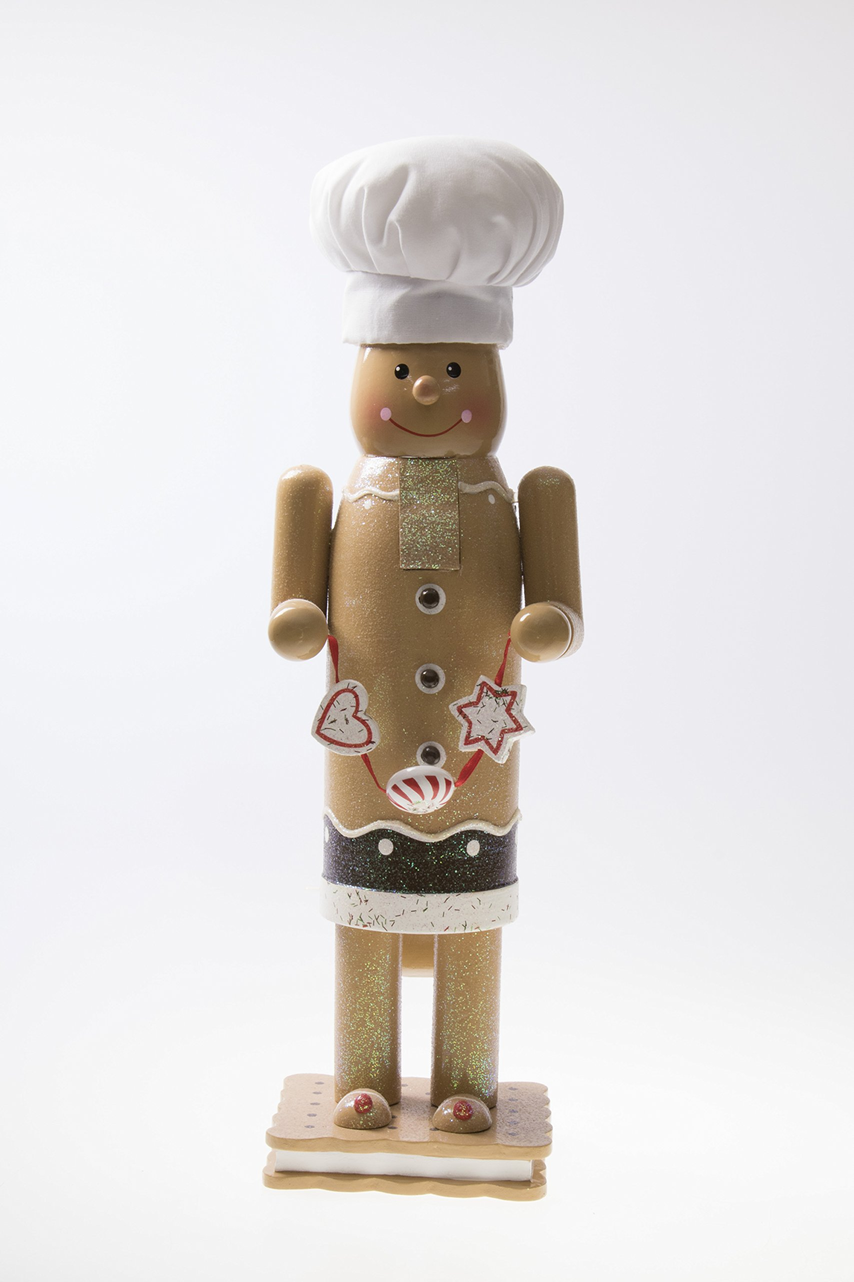 Traditional Christmas Gingerbread Man Nutcracker by Clever Creations | White Chef's Hat | Graham Cracker S'more Base | 14'' Tall Perfect for Shelves and Tables | Collectible Wooden Nutcracker