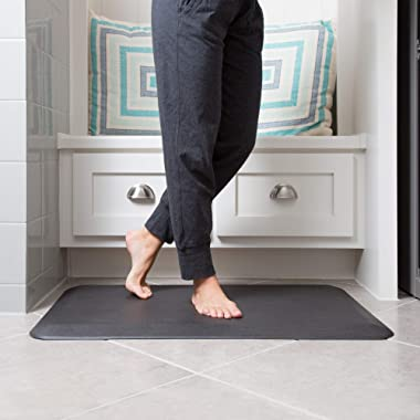 """NewLife by GelPro Anti-Fatigue Designer Comfort Kitchen Floor Mat, 20x32"""", Grasscloth Charcoal Stain Resistant Surface with 3/4"""" Thick Ergo-foam Core for Health and Wellness"""