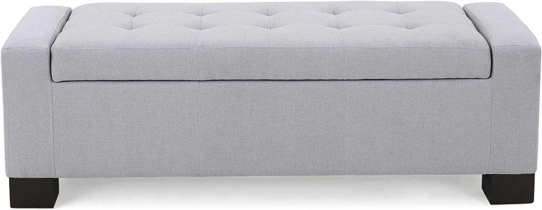 Great Deal Furniture Rothwell Light Grey Fabric Storage Ottoman