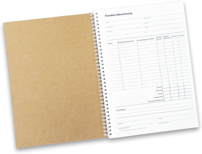 Stunden-Abrechnung Bauleistungen A4, selbstdurchschreibend, 2x50 Blatt, in stabiler Ringbindung