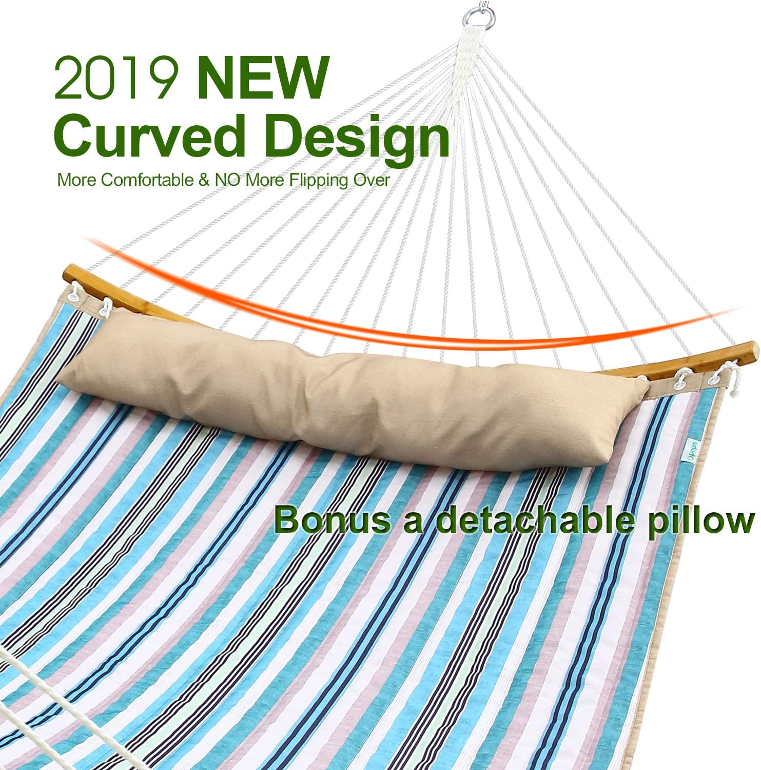 """Ohuhu Double Hammock Quilted Fabric Swing with Strong Curved-Bar Bamboo & Detachable Pillow, 55""""x75"""" Large Hammocks with Carrying Bag, 4.6'W x 6.2'L, Blue & White Stripe : Garden & Outdoor"""