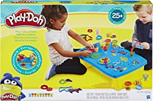 Hasbro B9023 Play-Doh- Play 'n Store Table inc 6 Tubs of Dough & Accessories- Sensory and educational Toys for kids, boys, girls- Ages 3+, Yellow, Blue
