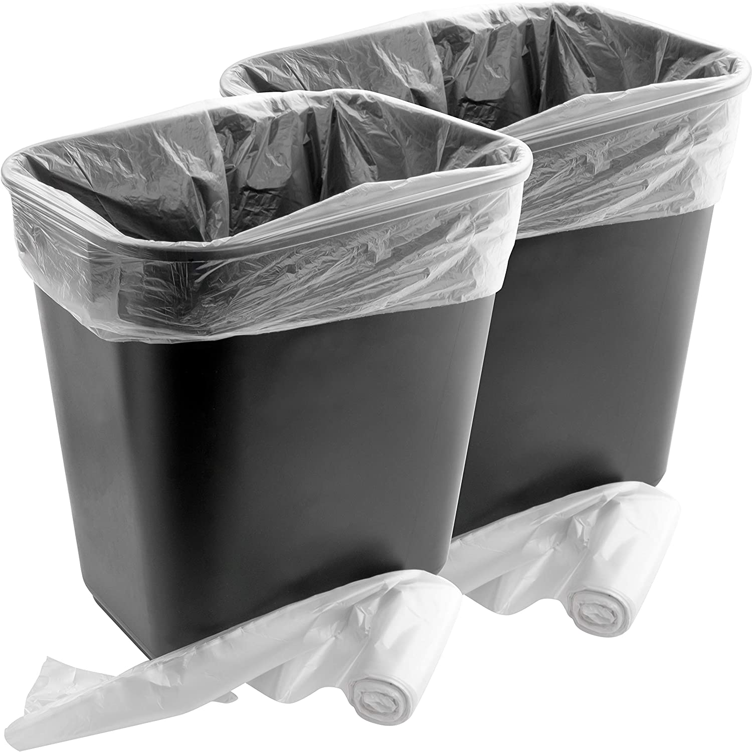 Space-Saving Trash Can and 4 Gal. Leak-Proof Liners Combo 2Pk. Small Black Plastic Wastebasket and Clear Bags Great for Bathroom, Kitchen or Office. Garbage Bin Fits Under Most Desks and Cabinets