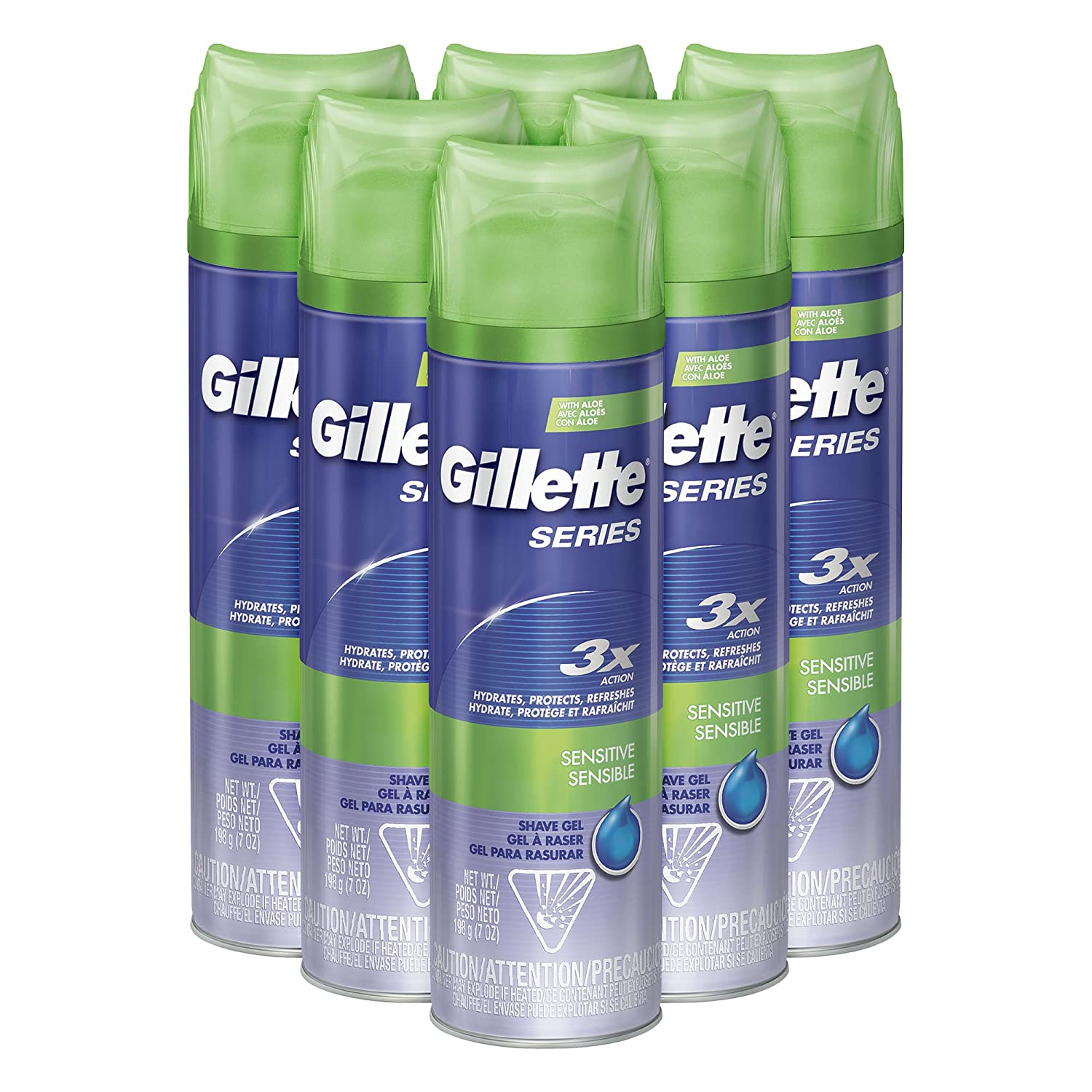 Gillette TGS Series Shave Gel, Moisturizing, 7 Ounce (Pack of 6) P&G NA