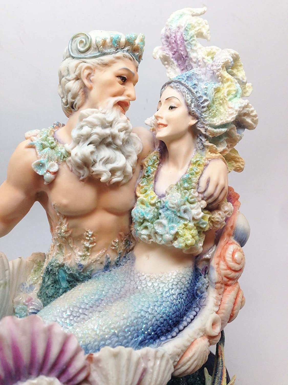 Josephine Wall Neptune Mermaid Wedding Statue Ariel and Poseidon Sea Party Figurine