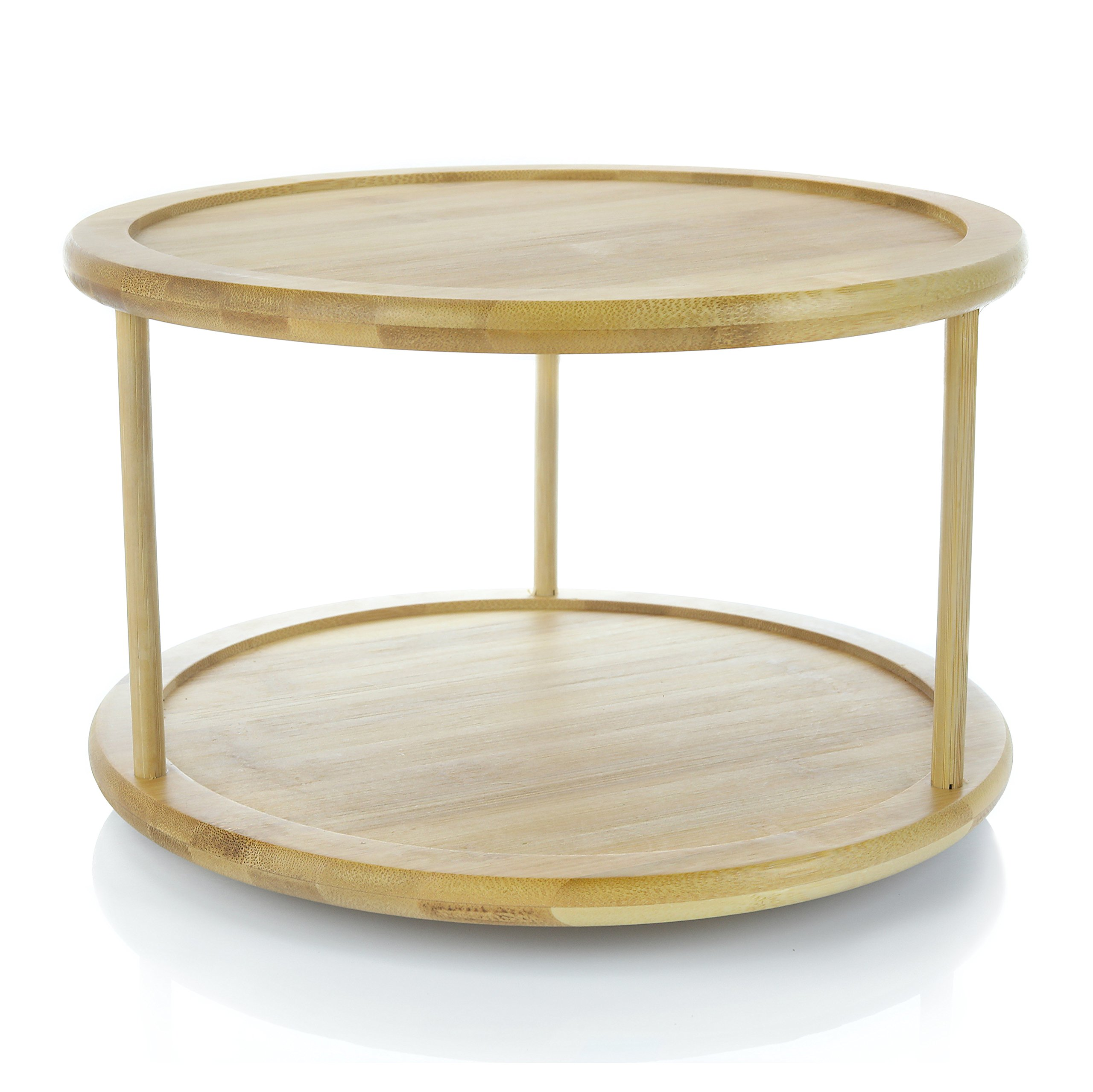 Adorn Home 2-Tier Premium Bamboo Lazy Susan | Lazy Susan Turntable | Lazy Susan Spice Rack | Kitchen Cabinet Organizer | Vanity Makeup Organizer | 12'' Turntable | (actual size 11.8 inches diameter)