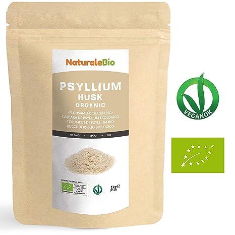 Cáscara de Psyllium Ecológico [99% Pureza] 1 Kg. Psyllium Husk, Natural y Puro. 100% cutícula de semillas de Psilio Orgánico, producido en India. Rico ...
