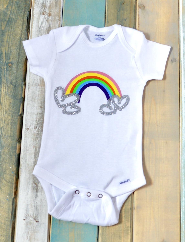 31148a2b34fa Amazon.com  Rainbow heart onesie bodysuit shirt LGBT baby shower ...