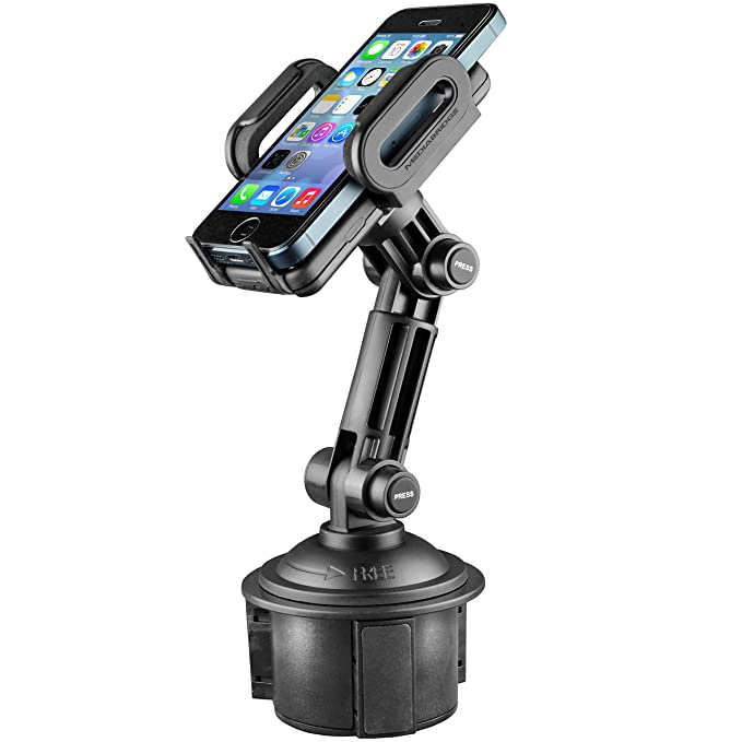 buy online f0f44 82680 Mediabridge Smartphone Cradle w/ Extended Cup Holder Mount - For iPhone  X/8/7/7+, Samsung S6/Note - Fits 2