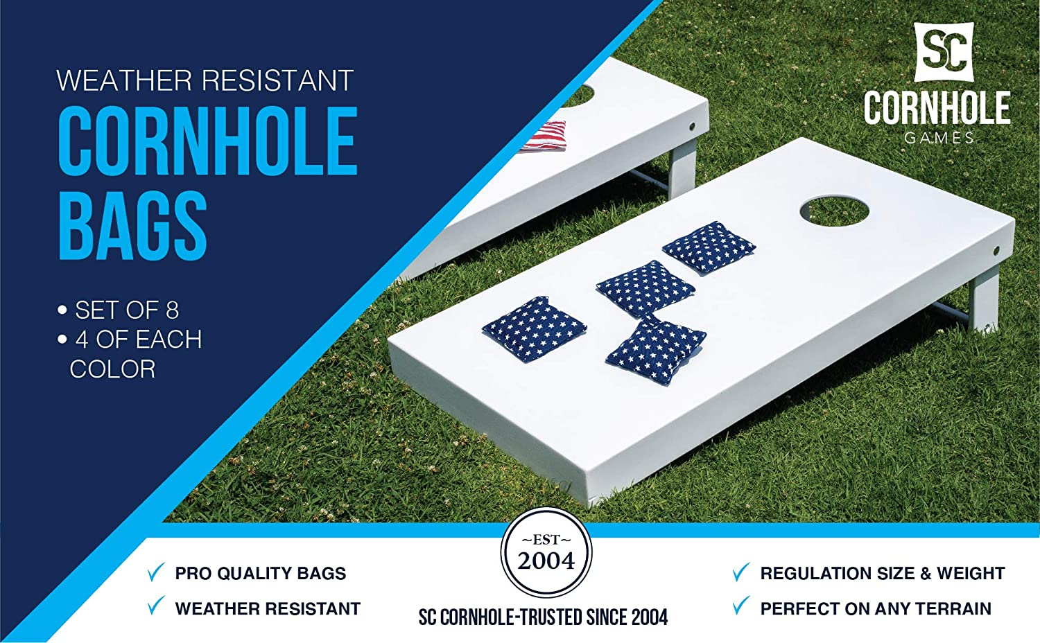 Win SPORTS Premium All-Weather Duck Cloth Cornhole Bean Bags Set of 8 Bean Bags for Corn Hole Game Choose Your Colors