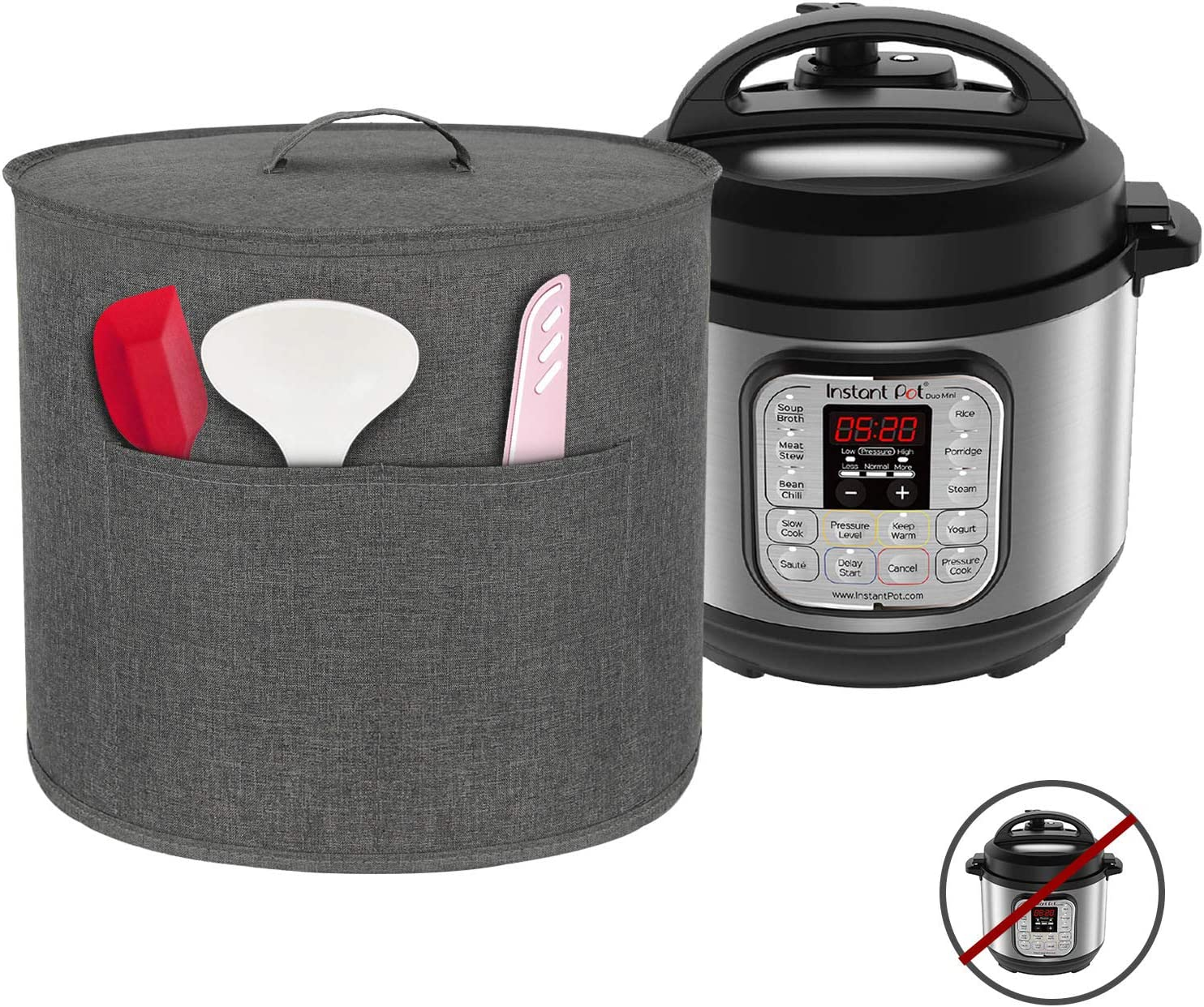 Homai Dust Cover for 3 Quart Instant Pot Pressure Cooker, Cloth Cover with Pockets for Holding Extra Accessories, Gray (Small)