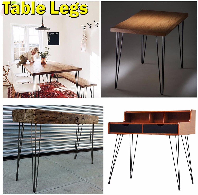 patas de mesa de metal 2 varillas de acero de 10 mm 4 patas de horquilla de 36 cm de alta resistencia acero desnudo patas de mesa para muebles soporta grandes cargas.