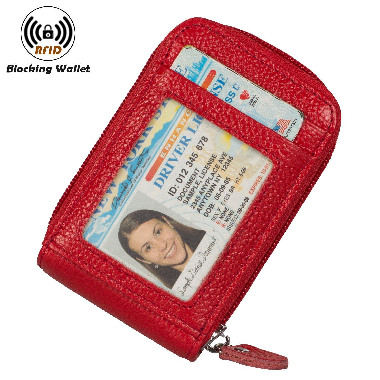 RFID Blocking Credit Card Holders Case Organizer Genuine Leather Zip-Around Security Wallet 520813333079-Black