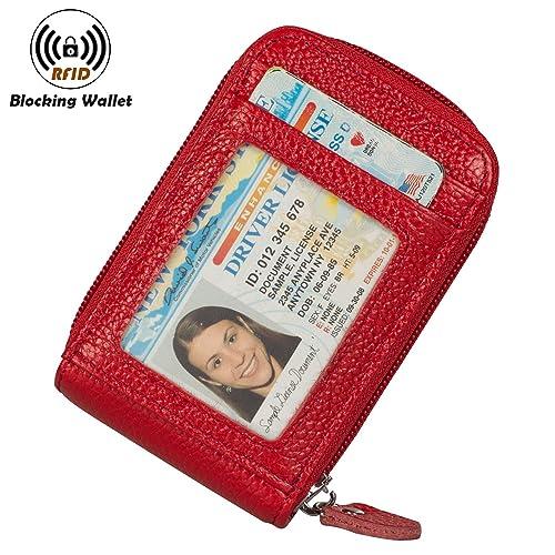RFID Blocking Credit Card Holders Case Organizer Genuine Leather Zip-Around Security Wallet
