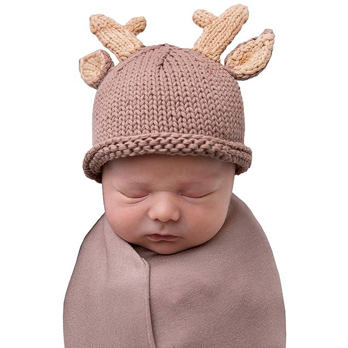 82175944f8c Amazon.com  Huggalugs Baby Buck Newborn Girl or Boy Hospital Hat ...