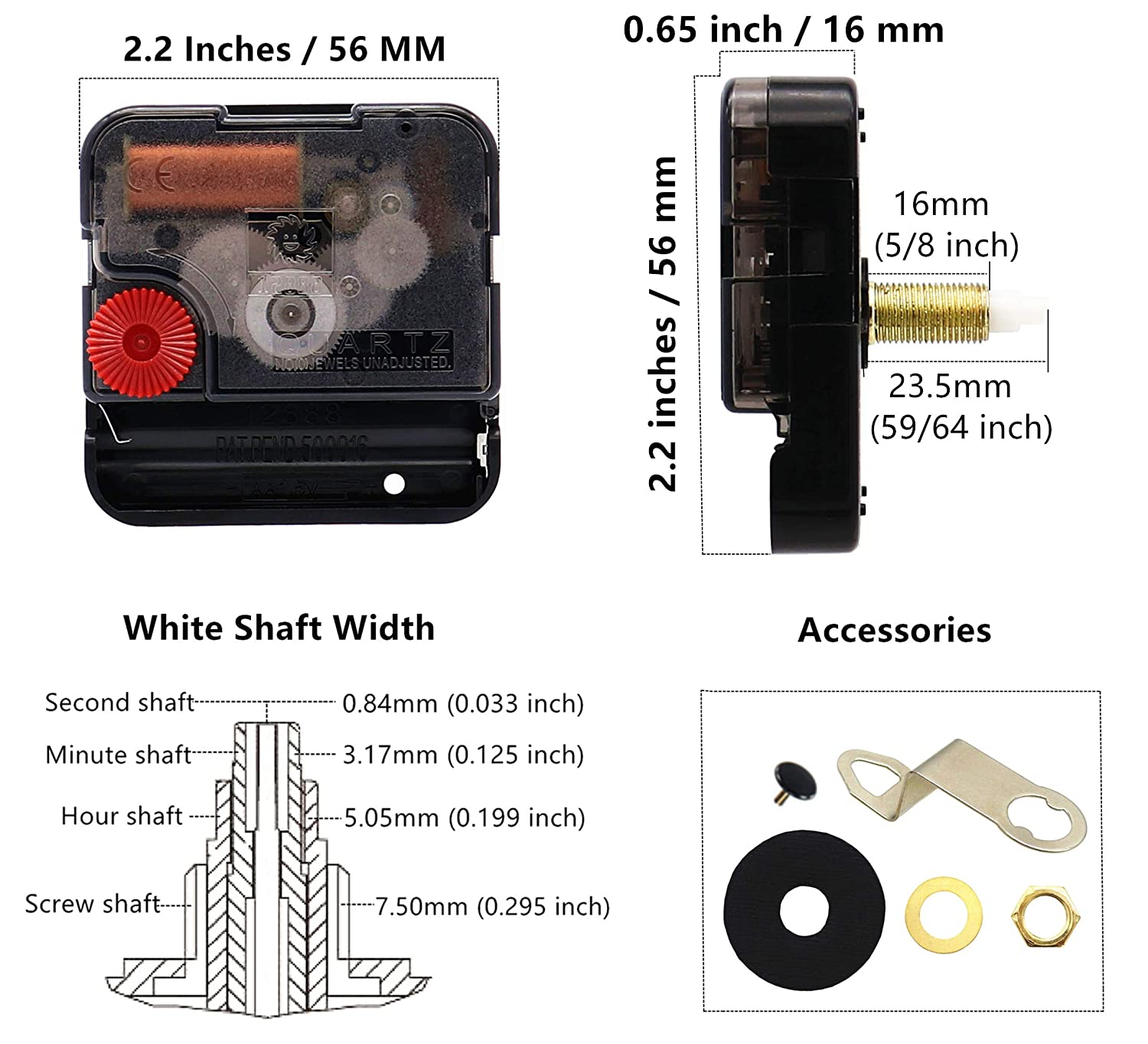 51//64 Inch Youngtown 12888 Quartz Wall Clock Movement Mechanism Battery Operated DIY Repair Parts Replacement 20mm 15//32 Inch Thread Length. Total Shaft Length 12mm