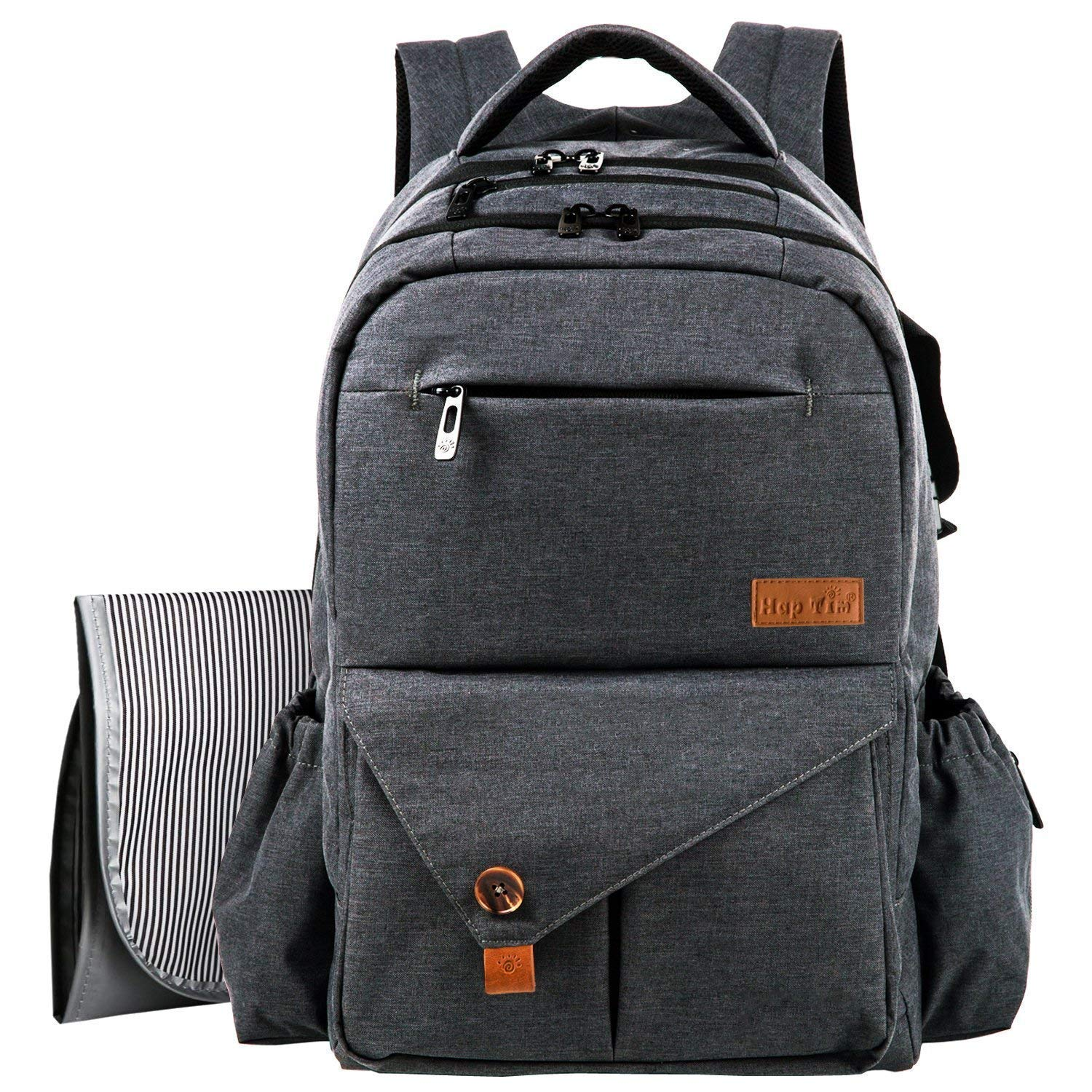 HapTim Multi-function Large Baby Diaper Bag Backpack W/Stroller Straps-Insulated Bottle Pockets-Changing Pad,Stylish & Durable(Dark Gray-5284) by Hap Tim