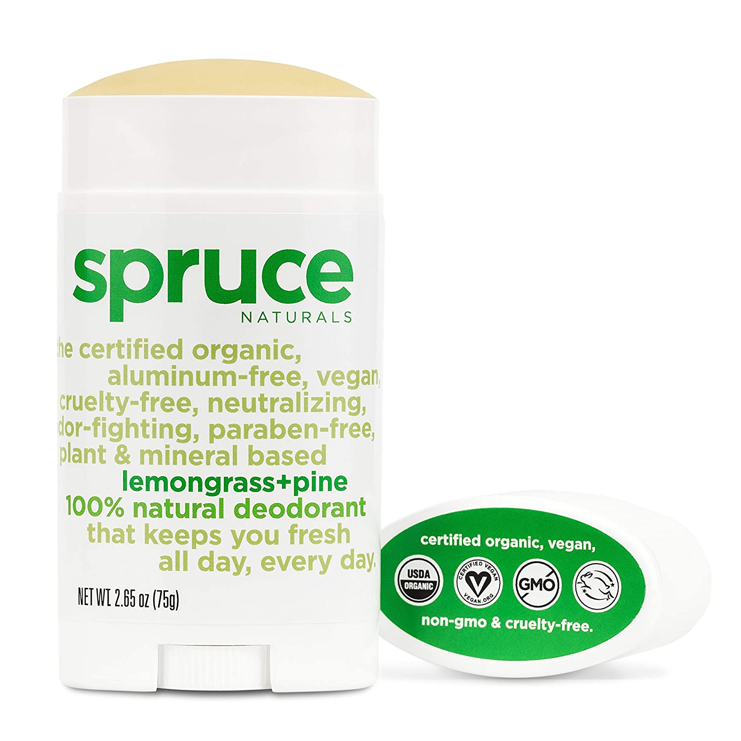 SPRUCE NATURALS: The All Natural Deodorant for Women and Me, Aluminum free Deodorant, Cruelty free Deodorant, Non GMO, USDA Organic Deodorant, Long Lasting Deodorant - Lemon Grass + Pine