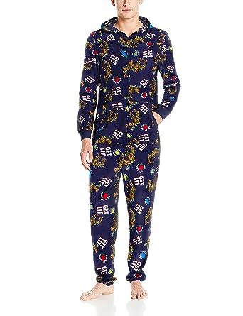 Fruit of the Loom Men's Holiday Microfleece Union Suit, Get Lit, Medium