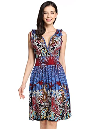 615d8ca863 Rapesee Bohemian Clothing Brands Bohemian Beach Dress Blue Floral Dress  Dresses at Amazon Women's Clothing store: