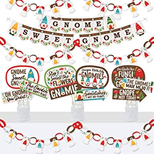 Big Dot of Happiness Garden Gnomes - Banner and Photo Booth Decorations - Forest Gnome Party Supplies Kit - Doterrific Bundle
