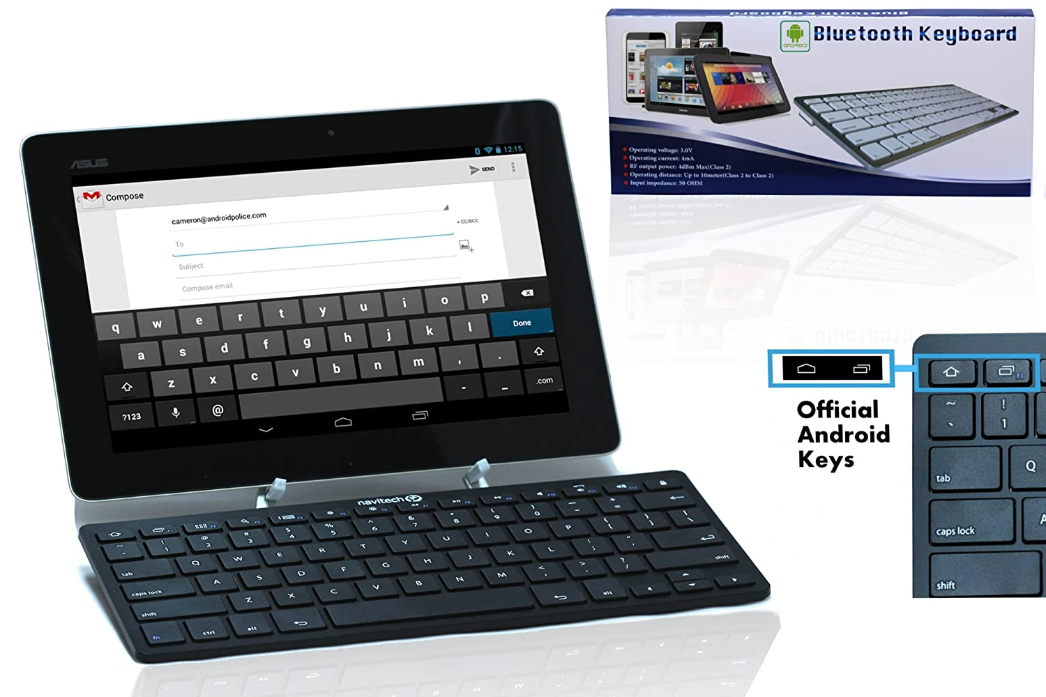 Navitech Black Slim Wireless Bluetooth 3.0 Android Keyboard Compatible with The Lenovo Tab S8-50 / Acer Iconia Tab 7 A1-713HD