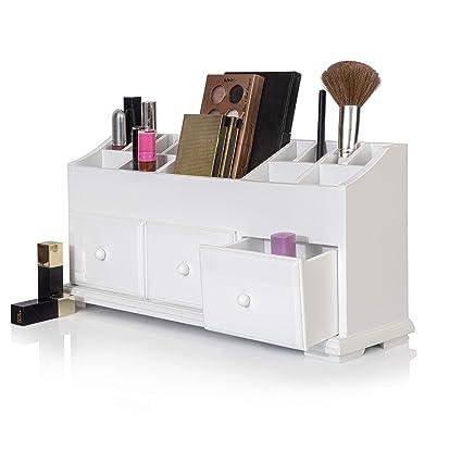 Cajón de tocador belleza organizador 3 cajones – blanco de madera caja de almacenaje para guardar