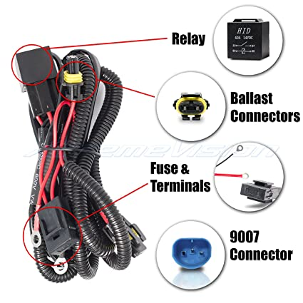 amazon com: xtremevision 9007 single beam hid battery wiring relay harness  12v 40 amp 35w/55w for hid: automotive