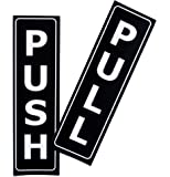 "Push Pull Door Vertical Sign Set by LK Factory - 1.5"" x 5"" Self Adhesive Black & White Vinyl Stickers for Indoor & Outdoor Use - High Quality UV Stable Business Decals"