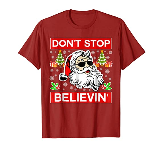 mens dont stop believin santa t shirt believe christmas shirt 2xl