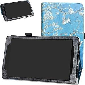 Lenovo Tab E8 2018 Case,Bige PU Leather Folio 2-Folding Stand Cover for 8