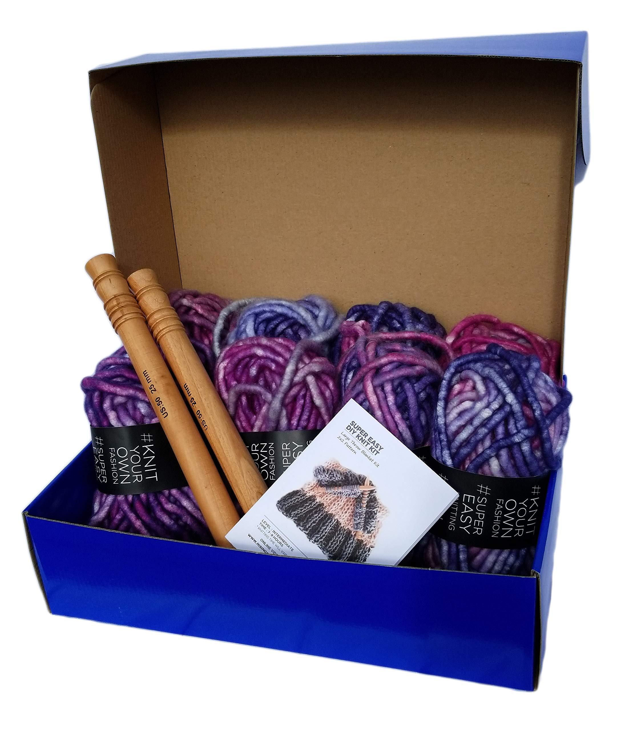 Large Chunky Throw Blanket DIY Knit Kit, Super Soft Thick Yarn w/Large Wood Knitting Needles US 50 Set (Pink & Purple Marled) by Rising Phoenix Industries (Image #1)