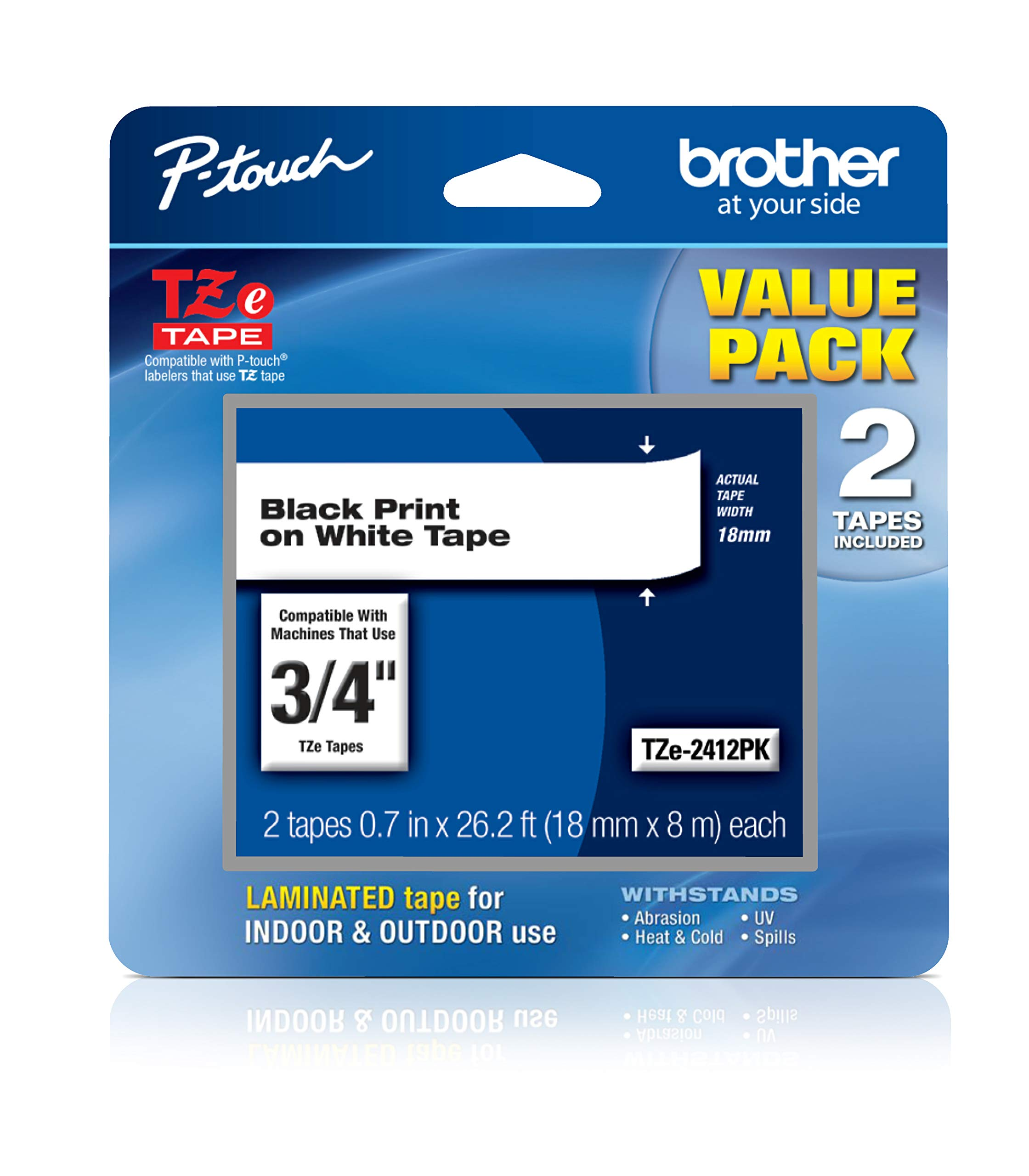 """Brother Genuine P-touch, TZe-2412PK Tape ~¾"""" (18mm) 2-Pack Laminated P-touch Tape, Black on White, Perfect for Indoor or Outdoor Use, Water Resistant, 26.2 ft. (8m)"""