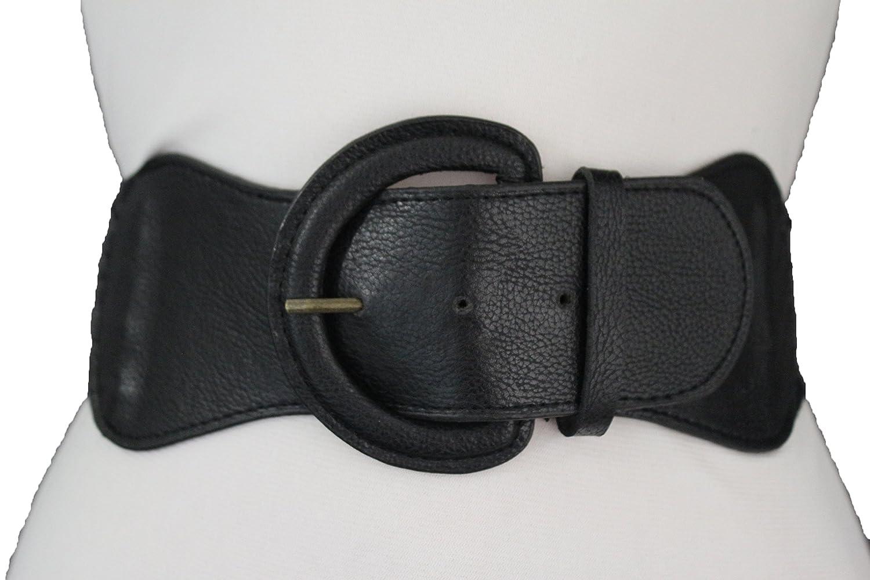 TFJ Women Fashion Elastic Belt Big Round Buckle Hip High Waist XS S M Black