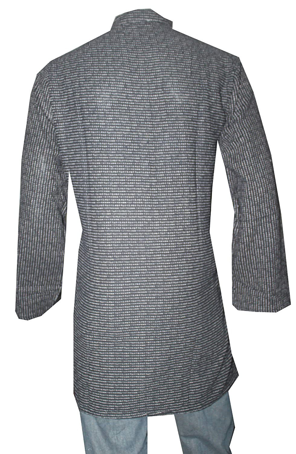 Lakkar Havali Indian 100/% Pure Cotton Men/'s Shirt Loose Fit Shirt Kurta Strips Print Grey Color