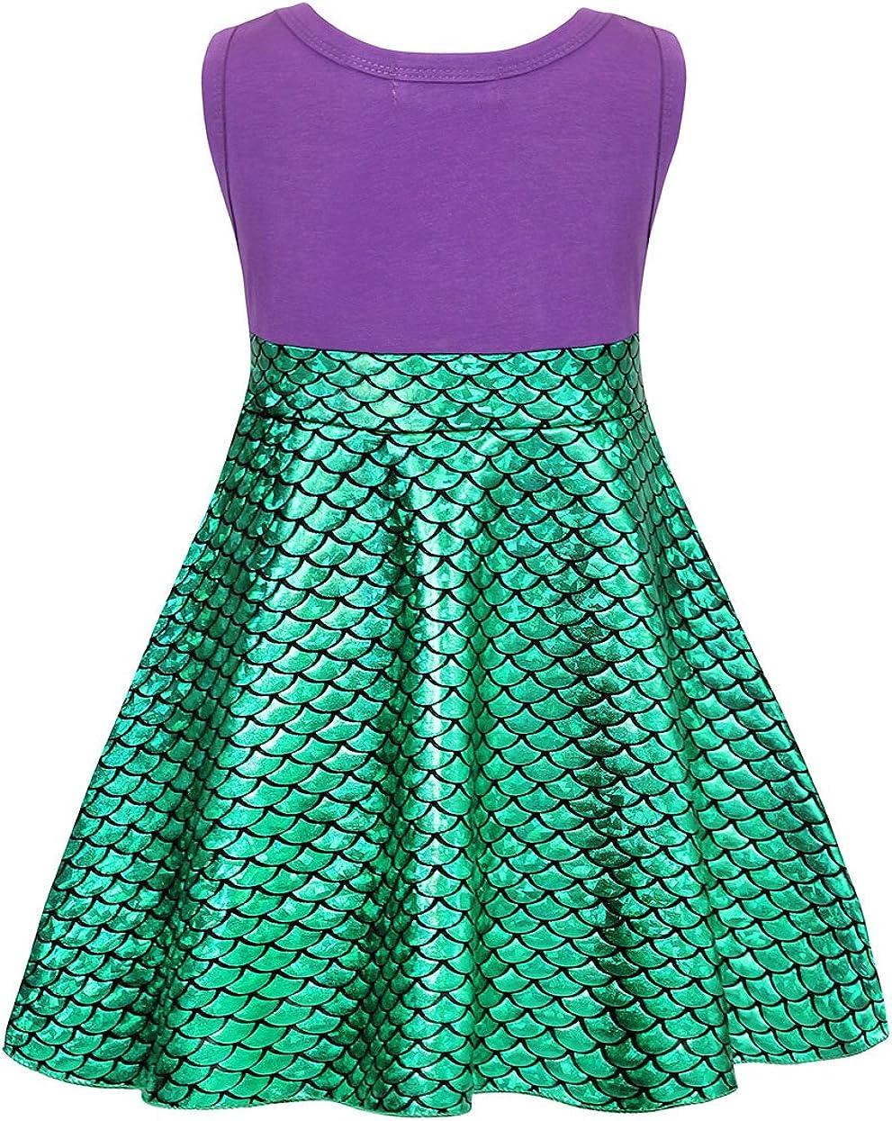 Jurebecia Mermaid Dress Little Girls Ariel Princess Party Kids Sequin Sleeveless Costume Cosplay Halloween Scale Skirt